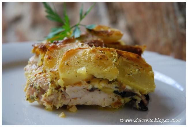 zapečené maso a brambory