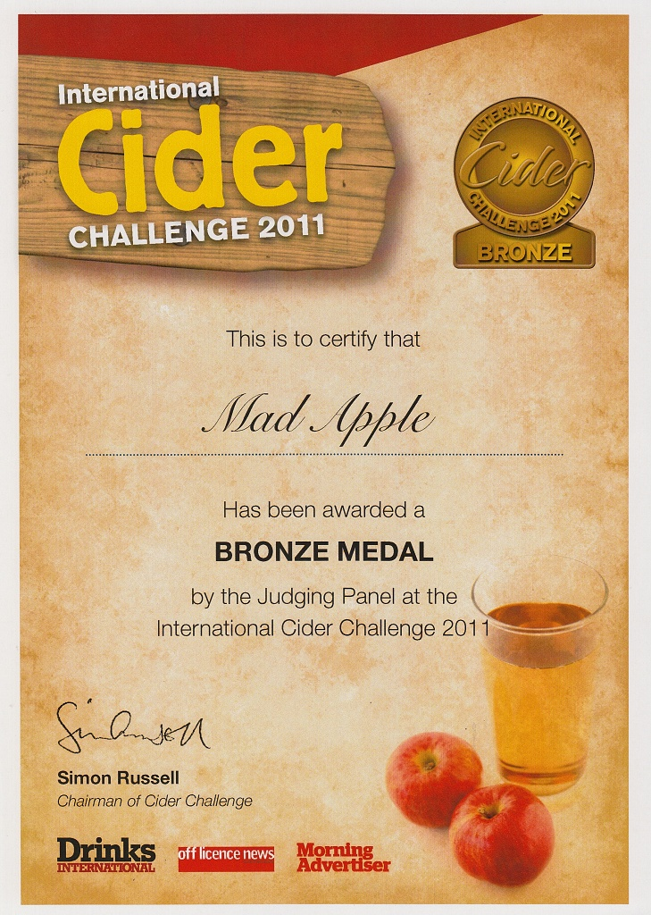 český cider má bronzovou medaili - diplom